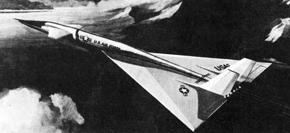 black and white illustration of XB-70 in flight