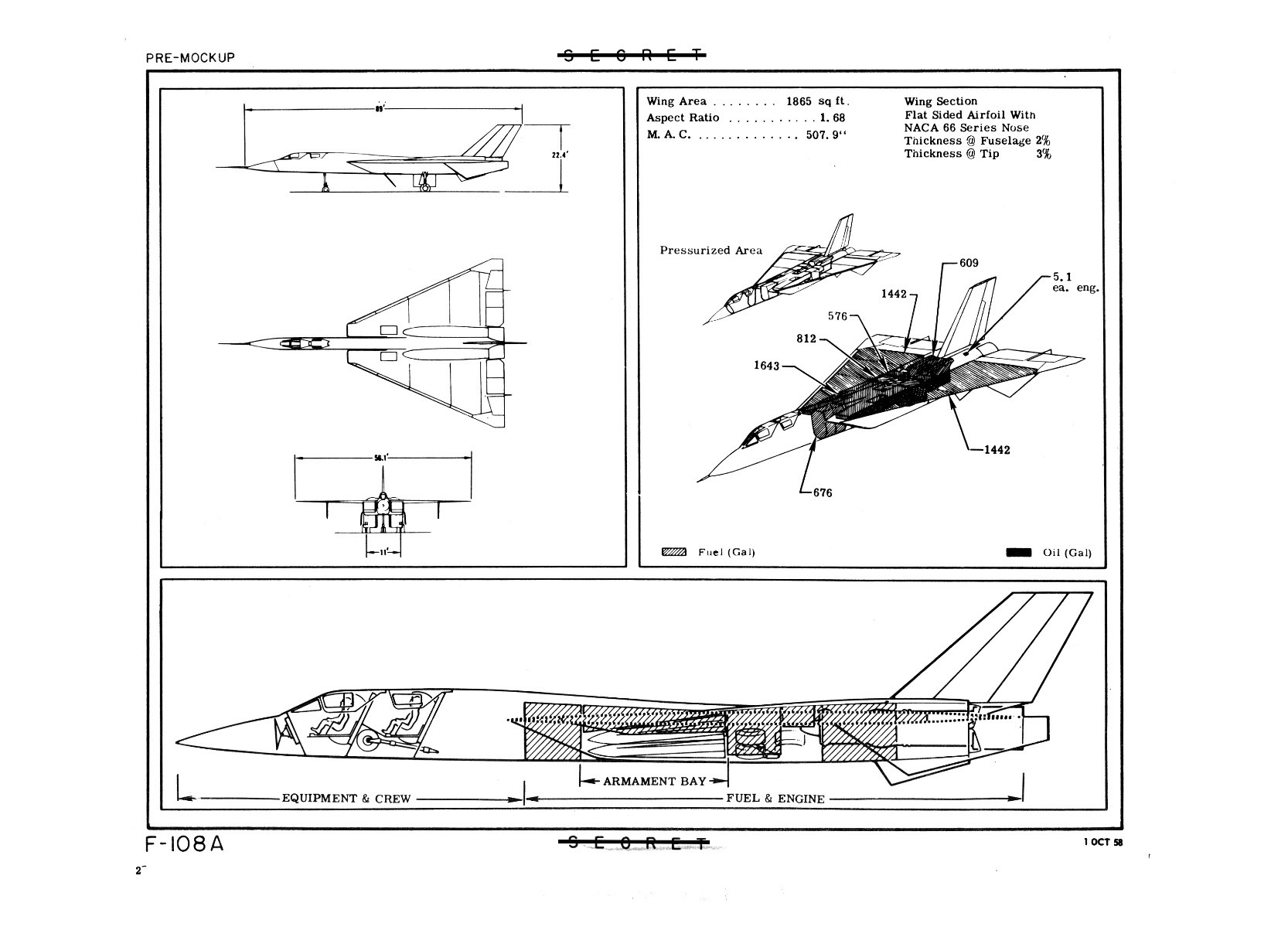 Illustration showing the F-108 layout