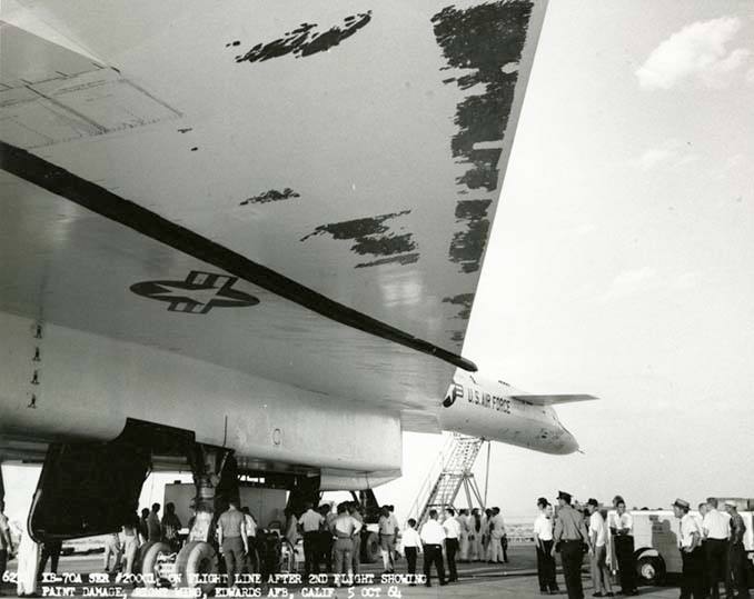 black and white picture of wing of XB-70