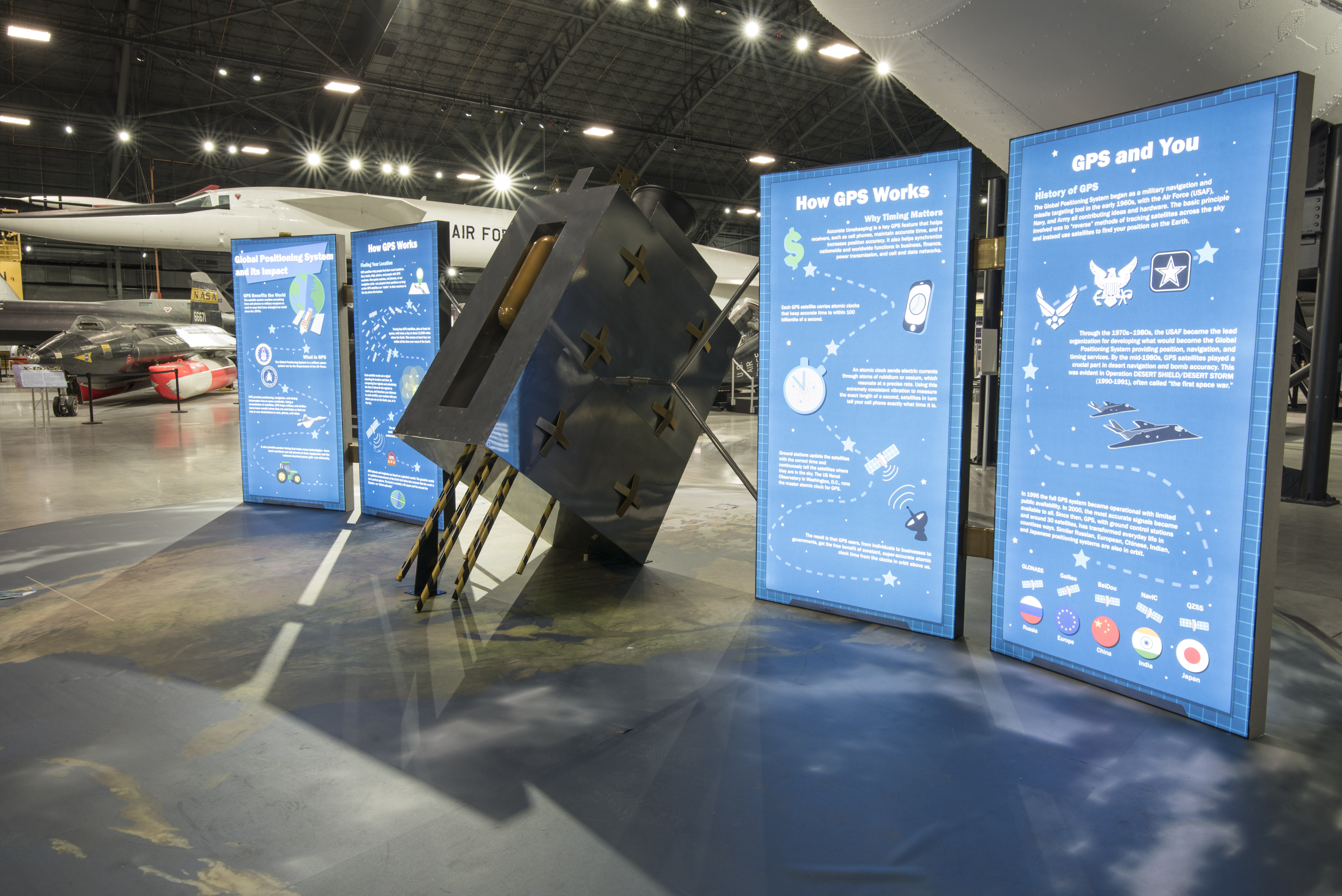 Picture of the GPS exhibit in the shape of a satellite