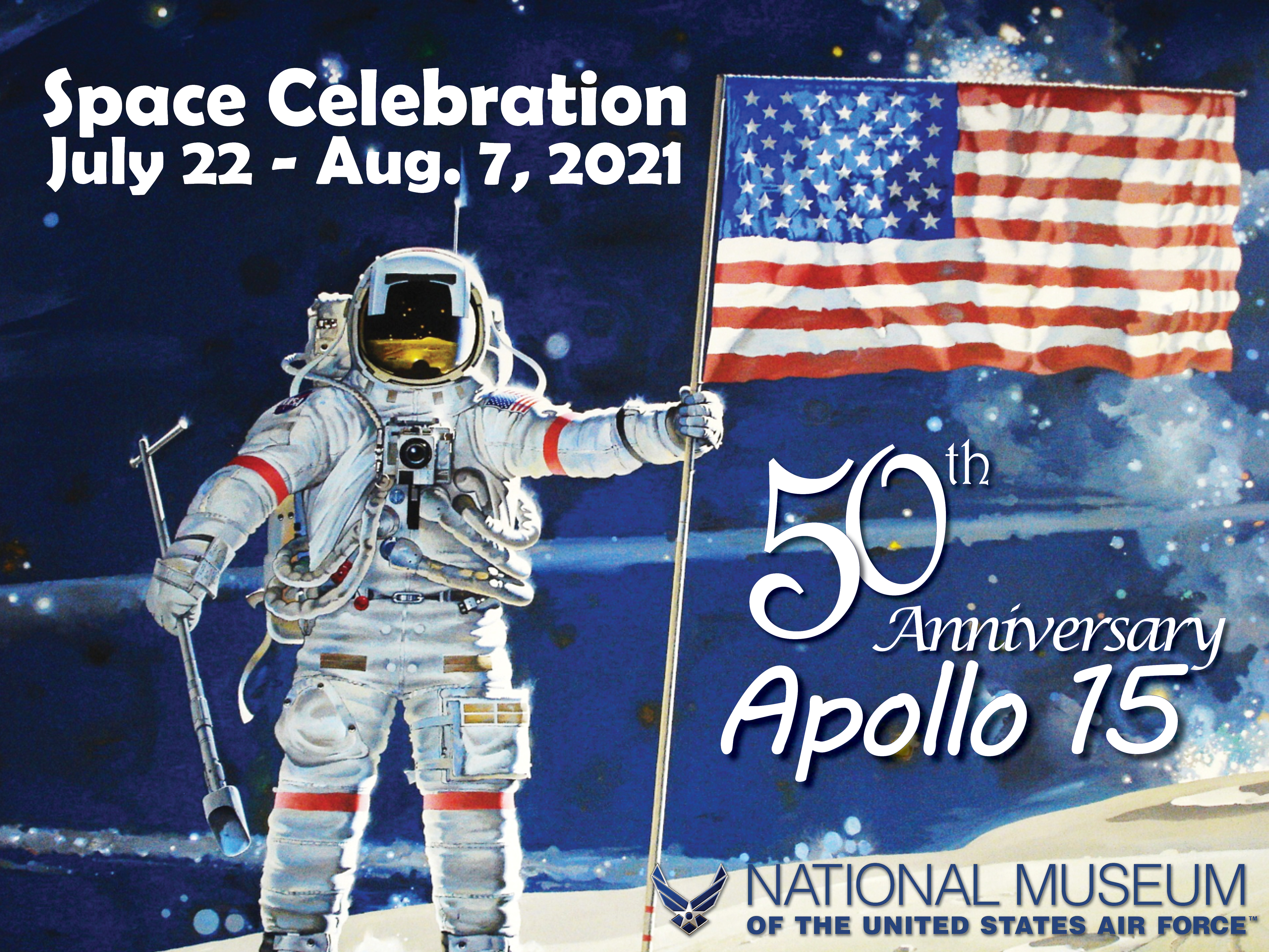 "Illustration of Apollo astronaut that reads ""Space Celebration July 22-Aug. 7, 2021; 50th Anniversary Apollo 15"""